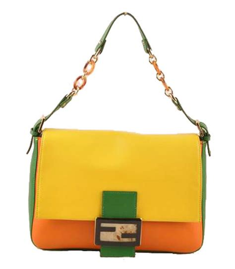 Fendi Forever Mirror Leather Purse by Fendi Forever Shoulder Bag Lemon Yellow With