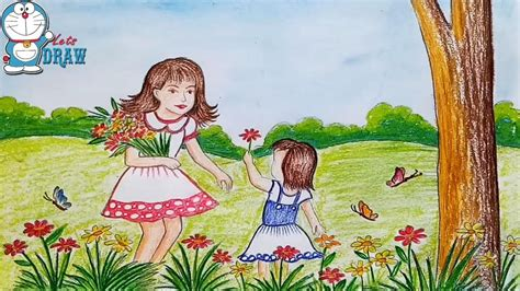 draw scenery  spring season flower garden step