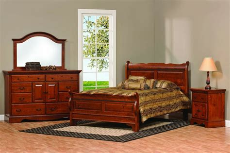 amish sleigh raised panel bedroom set solid wood furniture king queen full ebay