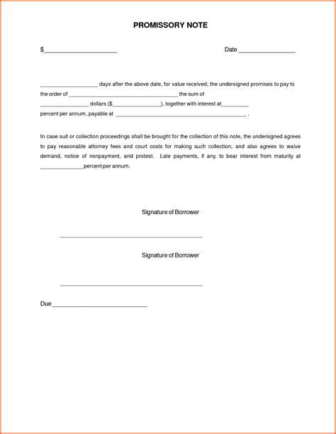 promissory note template editable