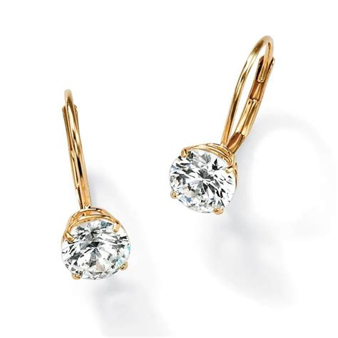 solid 14k gold russian cz cubic zirconia lever back