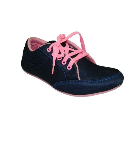 heels and toes blue pink flat synthetic leather casual