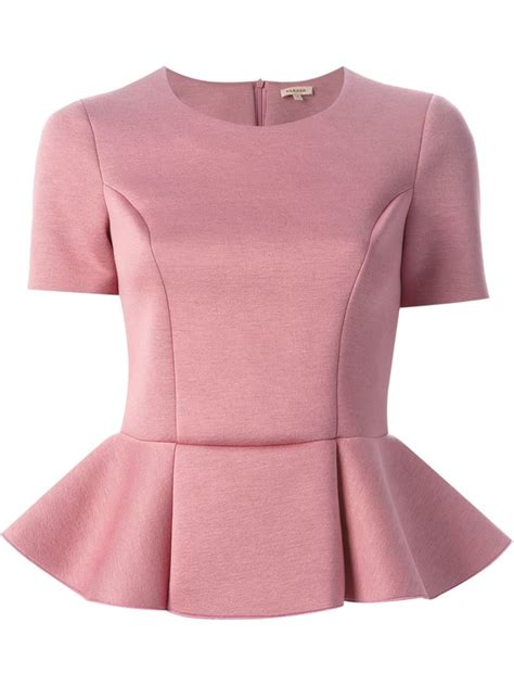 P A R O S H Top lyst p a r o s h structured peplum top in pink