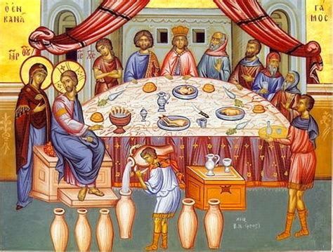 Wedding Feast At Cana Of Galilee by Orthodox Icon Of The Wedding Of Cana 1