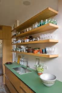 kitchen sheved open shelving in the kitchen town country living