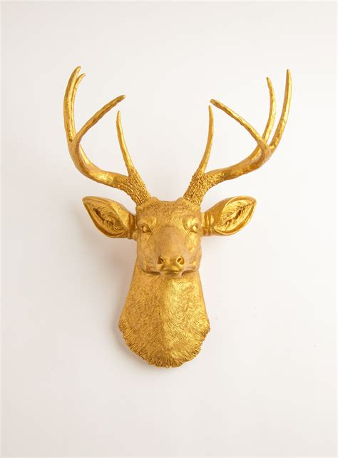 gold deer head the franklin faux taxidermy decor white