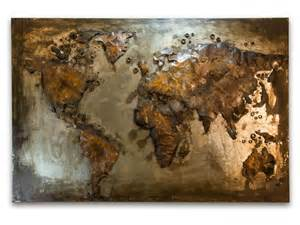Iron Vases Abstract Metal World Map Rusty World Wall Hanging