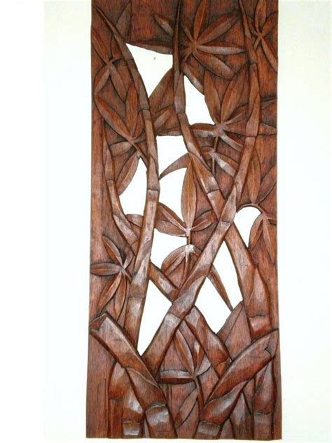 wall art designs wood carved bali bamboo leaves exterior
