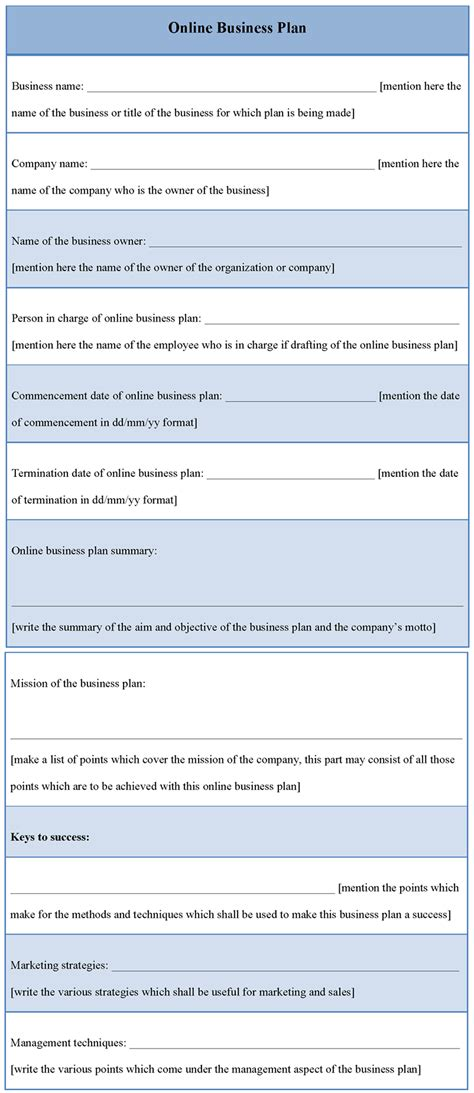 free business plan template plan template for business template of