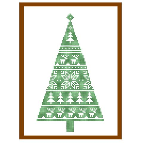 tree card stitch template modern tree cross stitch pattern