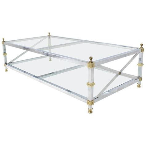 Two Tier Glass Coffee Table Chrome Brass Glass Two Tier Coffee Table With X Stretchers