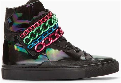 raf simons holographic space sneakers tricolor chained footwear raf simons holographic sneakers