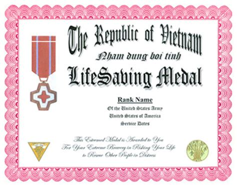 saving award certificate template air commendation medal display recognition