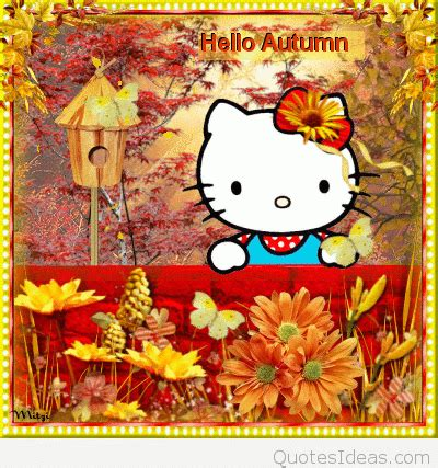 hello kitty autumn wallpaper cute hello fall sayings