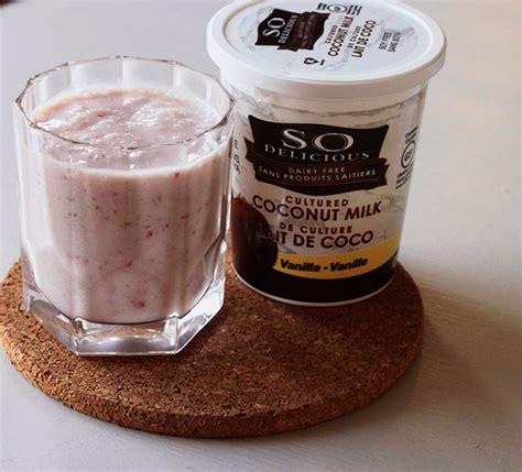 vegan strawberry banana milkshake recipe being tazim