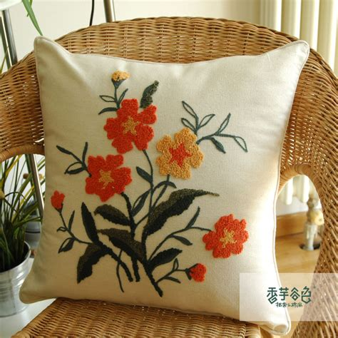 Pillow With Embroider S aliexpress buy handmade embroidered pillow cases flower throw pillow