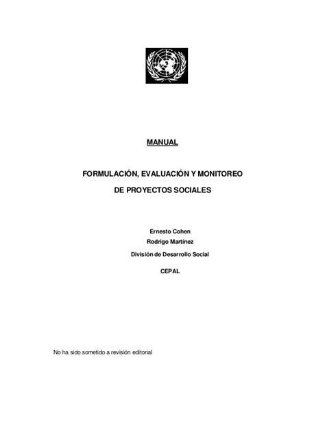 manual formulacin evaluacin y monitoreo de proyectos manual formulacion evaluacion y monitoreo de proy sociales