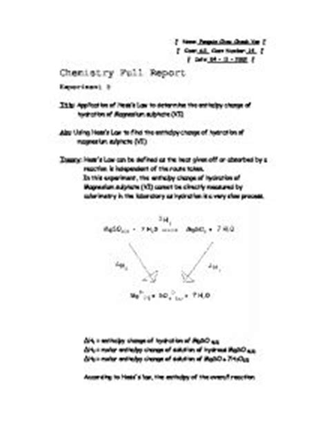 delta h hydration application of hess s to determine the enthalpy change