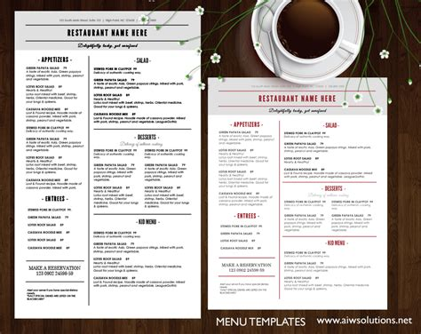 restaurant menu templates free restaurant menu design