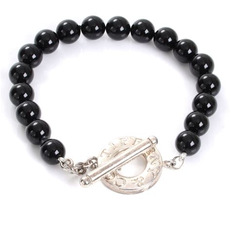 onyx bead bracelet co sterling silver black onyx bead toggle