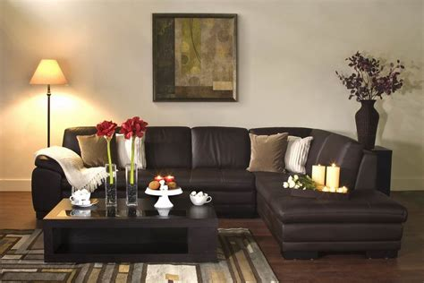 diana brown leather modern sectional sofa  chaise