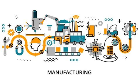 design concept manufacturing concept of manufacturing process stock vector