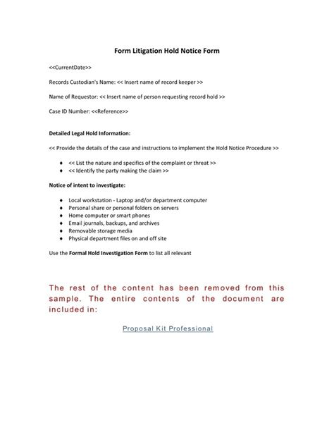 Records Notices Formal Record Hold Notice Form Use The Formal Record Hold Notice Intended For