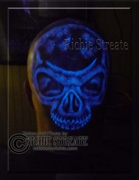glow in the dark tattoo australia uv blacklight skull head tattoo uv blacklight tattoos by