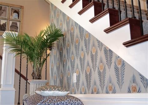Accent Wall Staircase by Diy Peacock Feather Stenciled Stairway Accent Wall