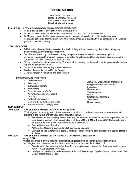 Intensive Care Unit Resume Objective Critical Care Resume Berathen