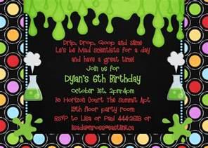 mad science birthday invitations