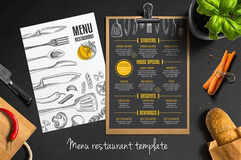 food menu restaurant flyer 9 brochure templates