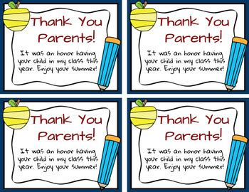 thank you letter to parents end of year end of year freebie thank you note to parents by