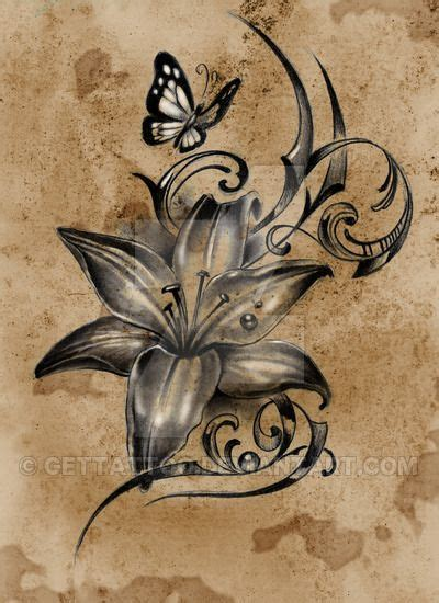 trailing tattoos designs lovely lilly flower with butterfly design tattoos