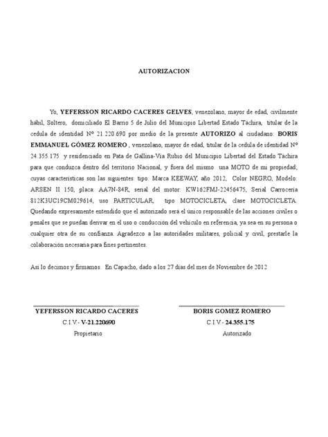 carta de autorizacion para utilizar vehiculo autorizacion moto
