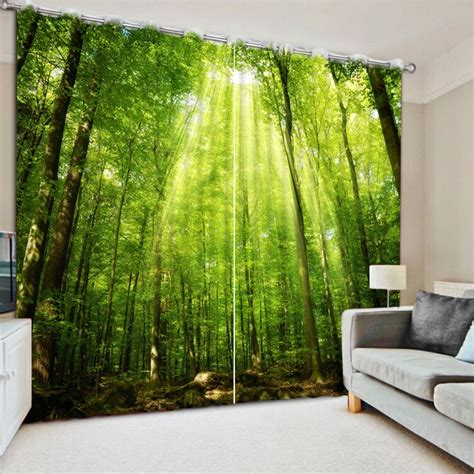 modern style curtains living room window green forest