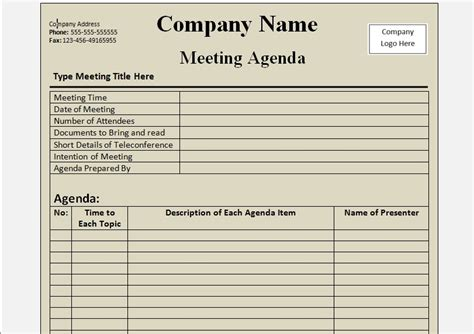 Template For Meeting Name Cards by Classic Meeting Agenda Template Word Format Helloalive