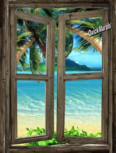 Window Wall Mural Beach Cabin Window 7 Wall Mural
