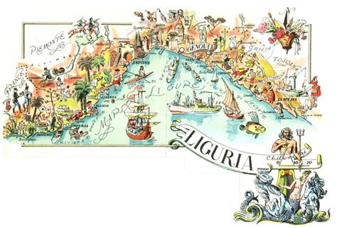 Italy Dll Poster Vintage 4 Frame consigned vintage map of liguria italy c 1950 midcentury prints and posters by mapsandart