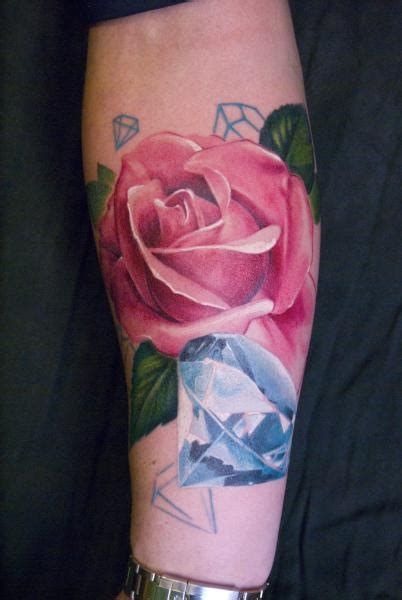 rose with diamond tattoo tattoos