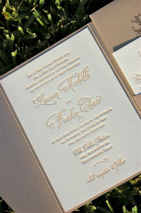 Wedding Invitations Letterpress by Fawn And Chagne Wedding Invitation Letterpress Wedding