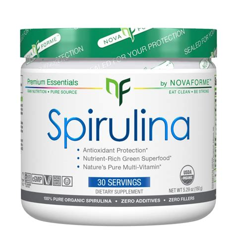 3 Green Spirulina Superfoods buy novaforme spirulina 30 servings fitshop ca