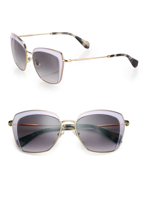 Miu Miu Square Lensa Biru miu miu mock half 53mm square sunglasses in purple for lilac lyst