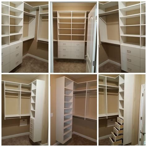 white melamine walk in closet with double hang drawers