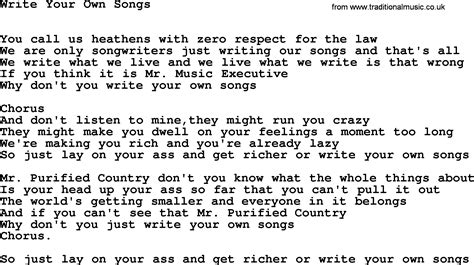 a song willie nelson song write your own songs lyrics