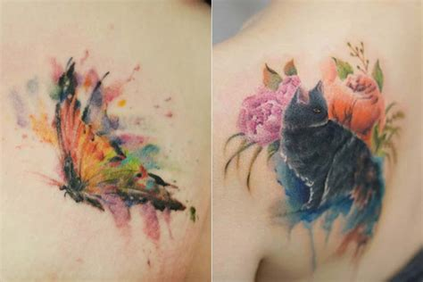 as tattoos em aquarela e sem contornos de silo just lia