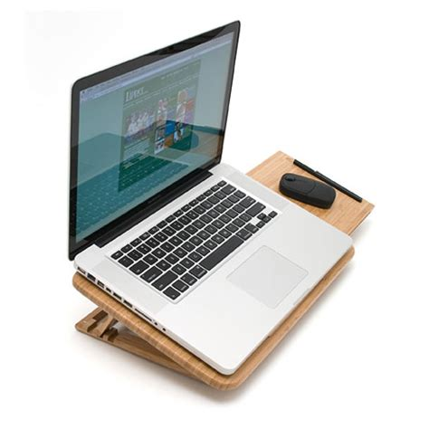 bamboo laptop stand with mouse pad in desks