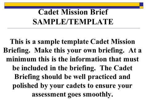 cadet mission brief sample template ppt video online