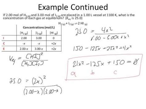 Rice Table Chemistry by Quadratic Equation Table Equilibrium Calculations