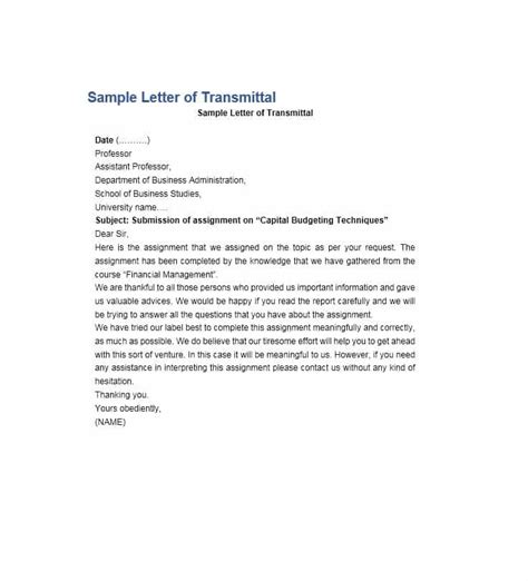 term paper letter of transmittal